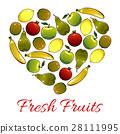 Fresh fruits heart shape vector poster 28111995