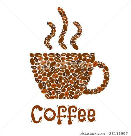 Coffee Cup Symbol Of Vector Roasted Coffee Beans Stock