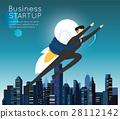 Businessman superhero flying business start up. 28112142