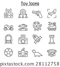 Toy icon set in thin line style 28112758