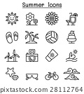Summer icon set in thin line style 28112764