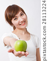 green apple in hand of healthy asian woman 28113224