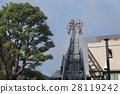 소방차 사다리 트럭 화재 화재 방재 도쿄 주택 밀집 변두리 오래된 목조 가옥 28119242