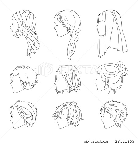 hairstyle side view man and woman hair drawing set stock