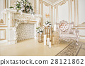 Luxurious vintage interior with fireplace in the 28121862