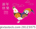 year of chicken on ancient background 28123075