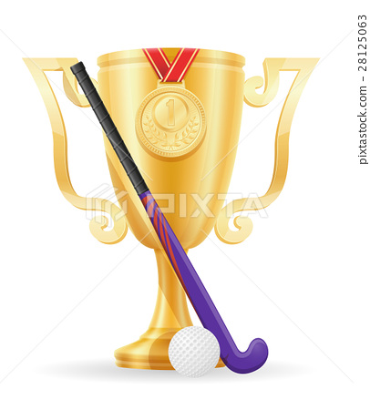 hockey on the field cup winner gold stock vector  28125063