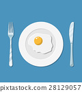 Plate with fried egg icon 28129057