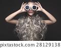 Beautiful girl in art dress and avant-garde 28129138