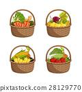 Fresh organic vegetable in wicker basket set 28129770