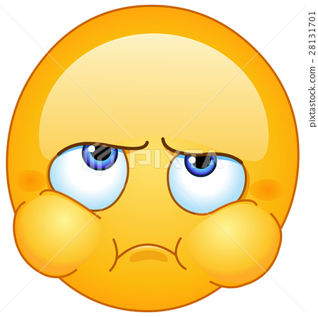 Puffed out cheeks emoticon - Stock Illustration [28131701