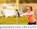 Woman volleyball player outdoor on court 28133293