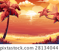 Sunrise or sunset on the sea with palm trees 28134044