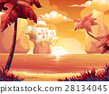 Crimson sun, sunrise or sunset on the sea galleon 28134045