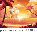 Galleon with crimson sun, sunrise or sunset on sea 28134046