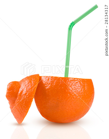 Orange with green coctail straw isolated on white 28134317