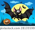 halloween picture with pumpkin, cute bats  28135599