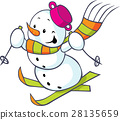 Cheerful snowman on skis 28135659