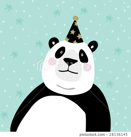 Cute giant panda bear with party hat. Kids poster 28136145