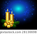 blue christmas background with golden candle 28136698