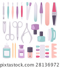Manicure instruments vector set cartoon style 28136972