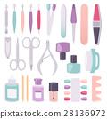 Manicure instruments vector set cartoon style 28136972