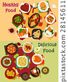 Breakfast and lunch dishes icon for menu design 28145611
