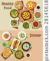 Salad and snack dishes for festive dinner icon set 28145618