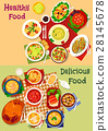 Russian cuisine soup and fresh salad icon set 28145678