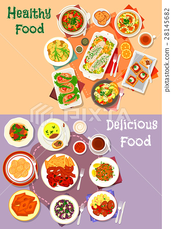 Meat, seafood and mushroom dishes icon set 28145682