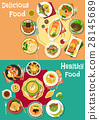 Dinner icon set with meat, seafood and soup dishes 28145689