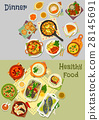 Healthy vegetarian and baked fish dishes icon set 28145691