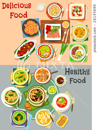 Lunch dishes top view icon set for menu design 28145699