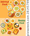Lunch icon set with healthy food dishes 28145799