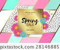 Spring Sale Design with Colorful Flowers, Vines 28146885