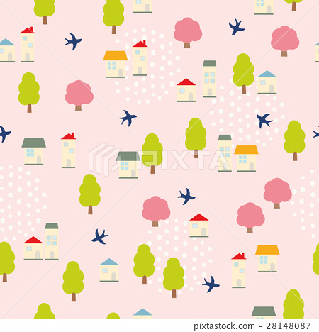 Background pattern house and swallow 28148087