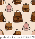 Seamless hand drawn Backpack background. 28149879