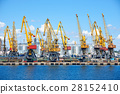 industrial sea port and cranes, railways 28152410