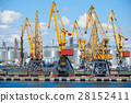industrial sea port and cranes, railways 28152411