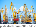 industrial sea port and cranes sky background 28152412