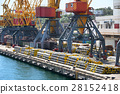 new pipes in the industrial port, cargo cranes 28152418