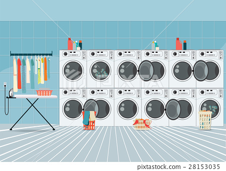 row of industrial washing machines  28153035