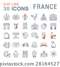 Set Vector Flat Line Icons France and Paris 28164527