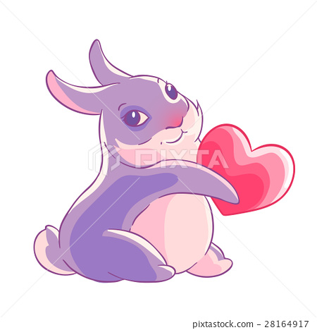 Valentine's day. Purple Bunny holding a heart in 28164917