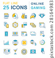 Set Vector Flat Line Icons Online Gaming 28164983