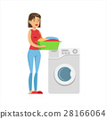 Woman Housewife Loading Dirty Laundry Into Washing 28166064