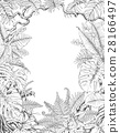 Hand Drawn Tropical Plants Frame 28166497