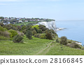 Coastal hike path on top of white cliffs of Dover 28166845