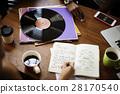 Human Hand Writing Notebook Vinyl Record Music Concept 28170540
