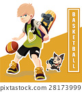 Young Boy Playing Basketball. Amazing  Kid. 28173999
